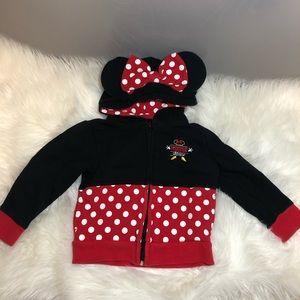 Disney Parks   Minnie Mouse ZIP Up Hoodie 2T